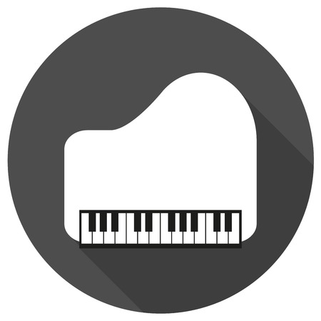piano: Piano Icon on white circle with a long shadow
