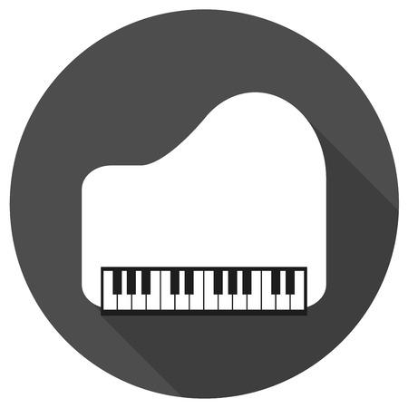 fortepian: Piano Ikona na białym kole z długim cieniem