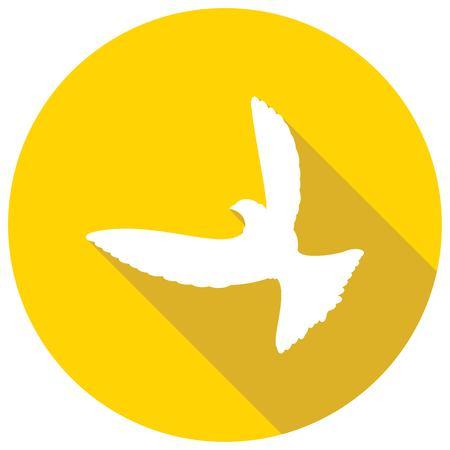 paloma: Icono Paloma de la Paz con una larga sombra Vectores