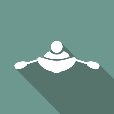 sports shell: rowing icon on long shadow