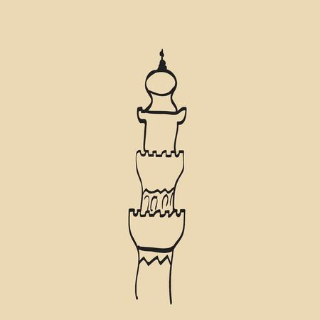 iftar: Hand drawn images of islamic worship places for holiday design