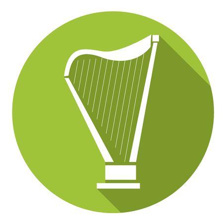 lyra: Lyra icon. Flat vector icon with long shadow