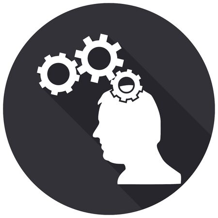 brainy: Icon Gear head with a long shadow