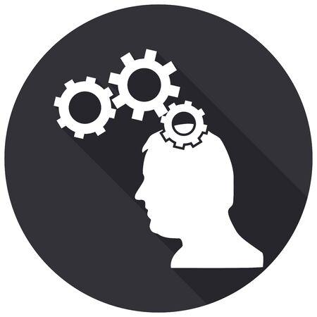 gear head: Icon Gear head with a long shadow