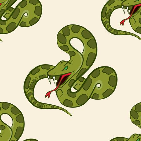 Seamless pattern with hand drawn snake Illustration