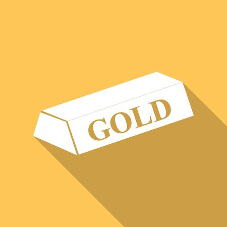gold bar: gold bar isolated on long shadow Illustration