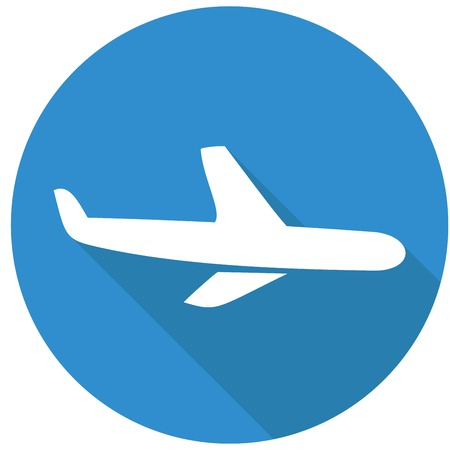 airplane ticket: Airplane icon. Modern flat icon with long shadow effect Illustration