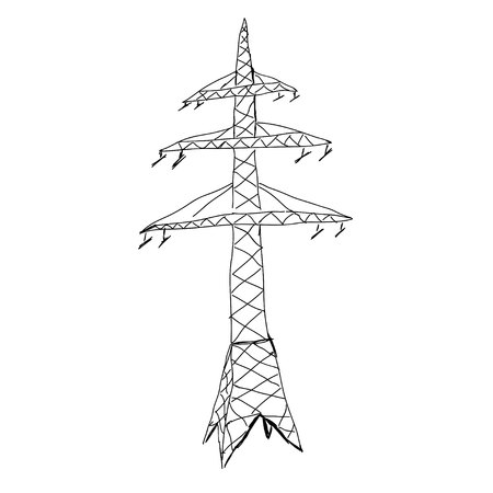 powerline: Power lines. Hand drawn sketch illustration Illustration