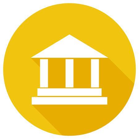 acropolis: pillar icon on white circle with a long shadow