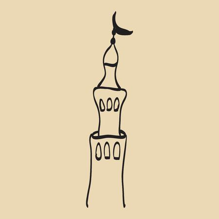 ramzan: Hand drawn images of islamic worship places for holiday design