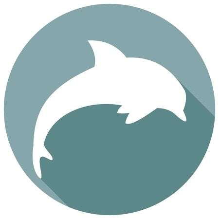 cetacea: Icon dolphin with a long shadow