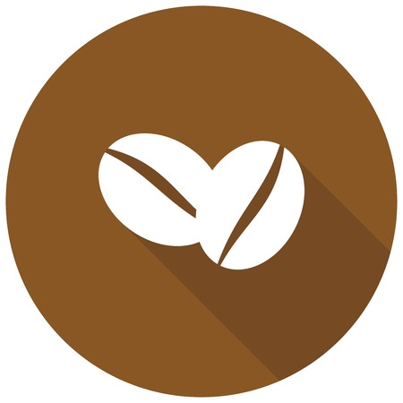 white beans: Coffee beans icon with long shadow
