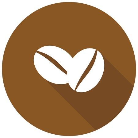 chicchi di caff�: I chicchi di caff� icona con una lunga ombra Vettoriali