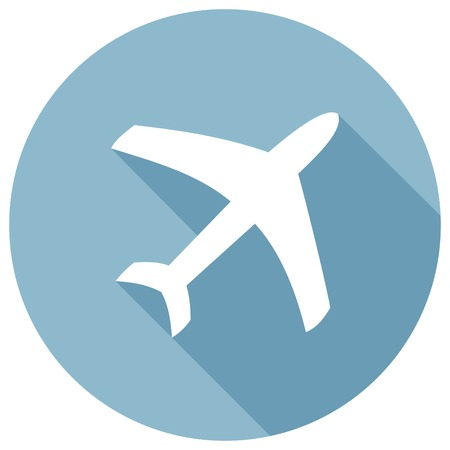 shadow effect: Airplane icon. Modern flat icon with long shadow effect Illustration