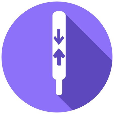 calibrated: thermometer icon with a long shadow