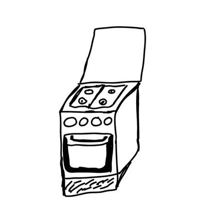 gas stove: gas stove - hand drawn sketch illustration