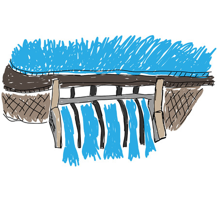 barrage: Water Dam vector image Illustration