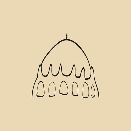 namaaz: Hand drawn images of islamic worship places for holiday design