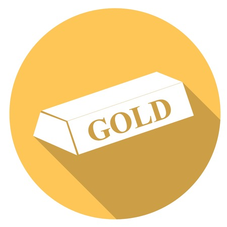 futures: gold bar isolated on long shadow Illustration