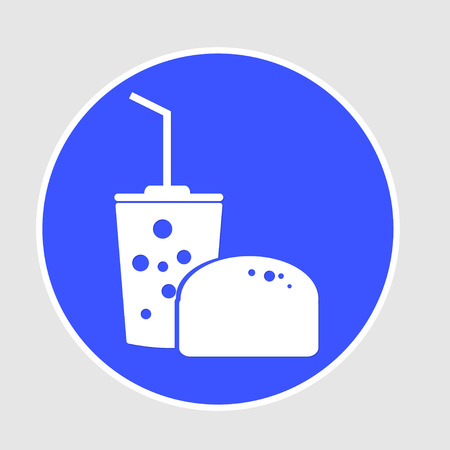 ready to eat: Fast food icon on white circle