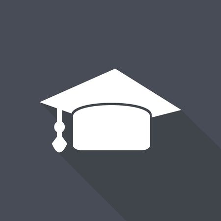 doctorate: Icon Graduation cap on long shadow Illustration
