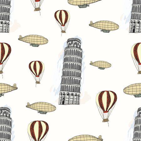 tower of pisa: Sketch Pisa tower, vector vintage seamless pattern