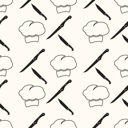 chef kitchen: chef , cartoon seamless pattern background