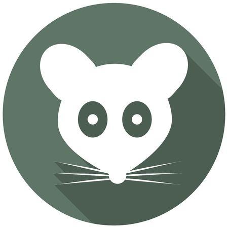 rata caricatura: Icono del ratón con una larga sombra