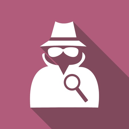 incognito: Man in suit. Secret service agent icon a long shadow