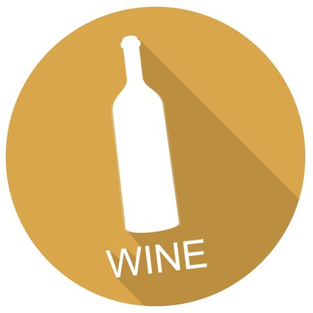 cabernet: Wine bottle icon with long shadow Illustration