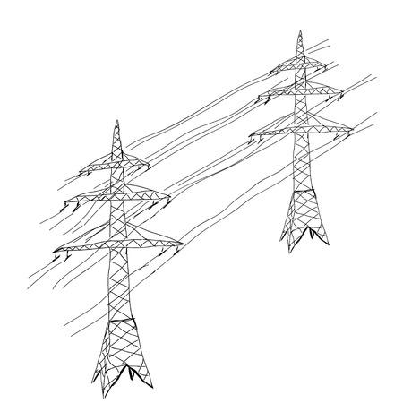 Power lines. Hand drawn sketch illustration Illustration