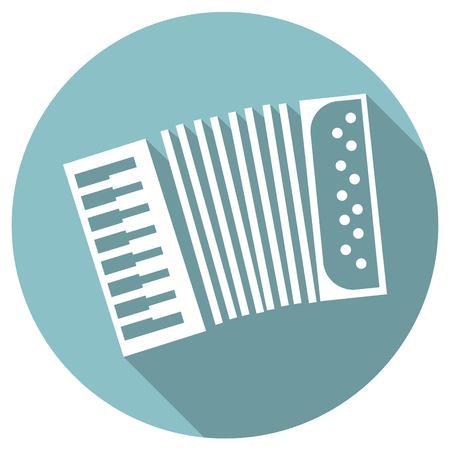 concertina: long shadow flat icon of accordeon Illustration