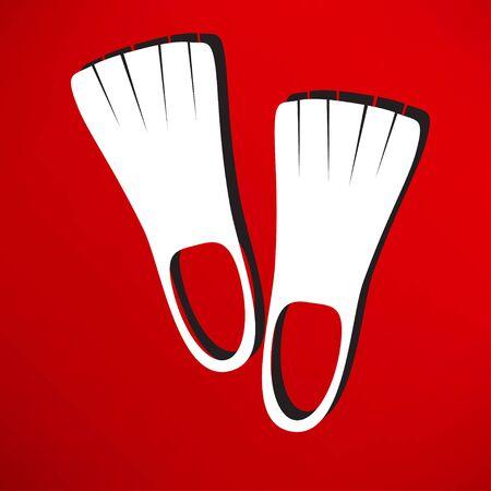 flippers: aletas icono Vectores
