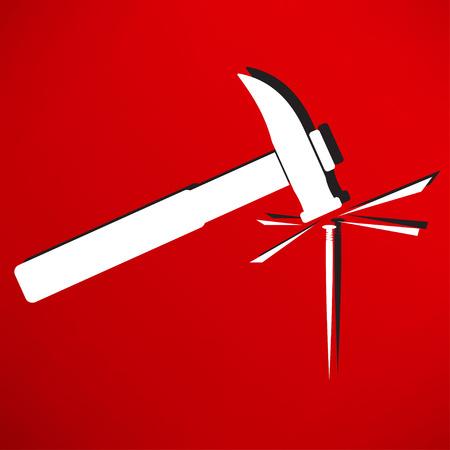 impact tool: Hammer and nail icon