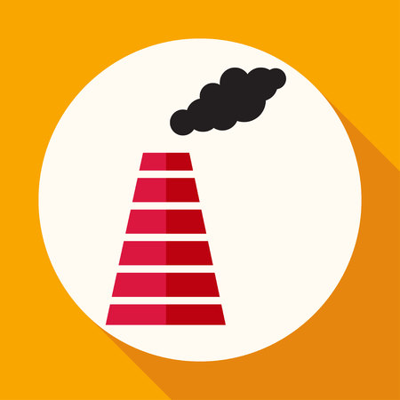 Smoke emission from factory pipes icon Illustration