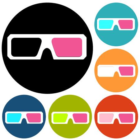stereoscope: 3d glasses icons Illustration