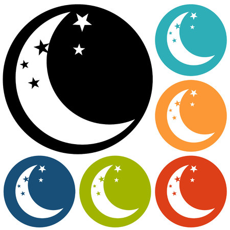 full time: moon icon vector