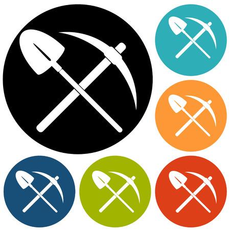 pickaxe: pick and shovel symbol