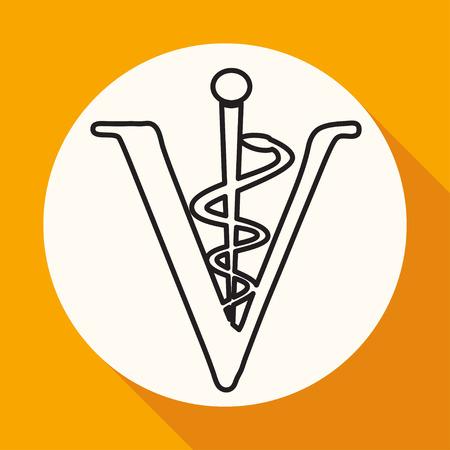 caduceus veterinary symbol: Veterinary sign cat and dog symbol Illustration