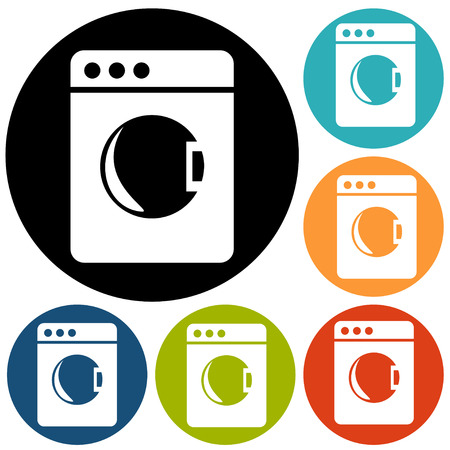 fully automatic: washing machine icon Illustration