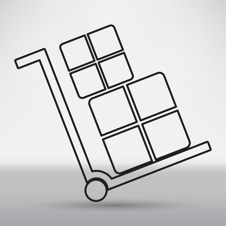 dolly: handcart icon Illustration