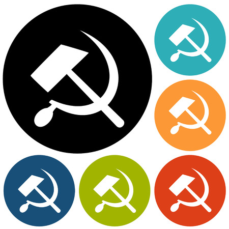 marxism: Communist star with hammer and sickle on white background