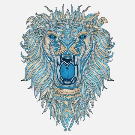 totem indiano: Capo Patterned del leone africano  indian disegno  totem  tatuaggio. Pu� essere usato per la progettazione di una maglietta, sacchetto, cartolina, un poster e cos� via
