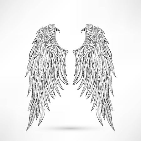 life and death: illustration angel wings Illustration