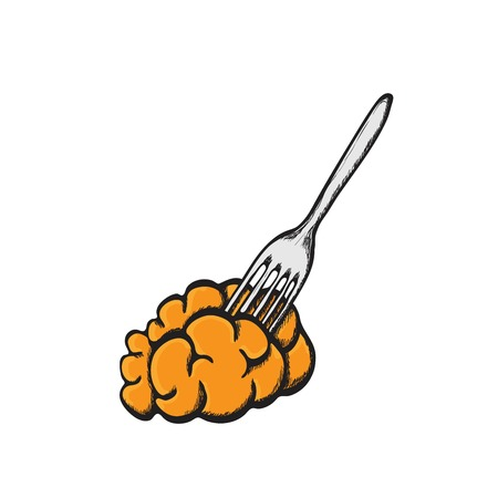 pierced: Brain food pierced on fork. Delicacy for zombies Illustration