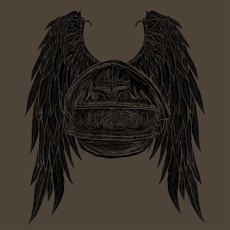 ali angelo: ali d'angelo disegnate e berretto del pilota Vettoriali