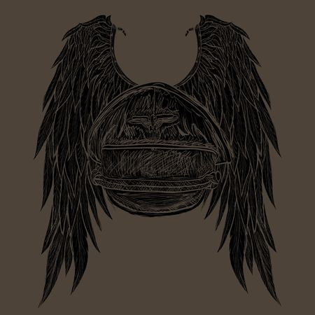 gothic angel: drawn angel wings and the pilots cap
