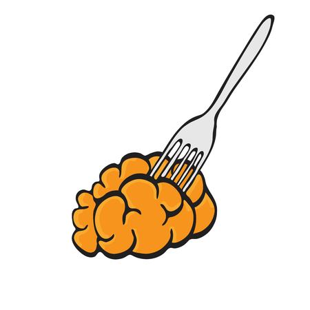 delicacy: Brain food pierced on fork. Delicacy for zombies Illustration