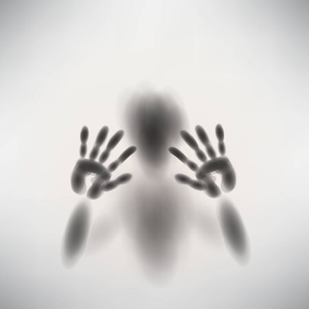 shadow man: spooky diffuse silhouette hand and face