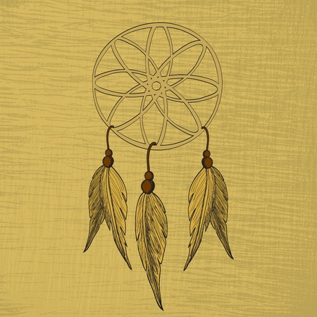 american dream: Dreamcatcher, feathers and beads. Native american indian dream catcher Illustration